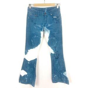 Carmar Tie Dye Distressed Flare Jeans